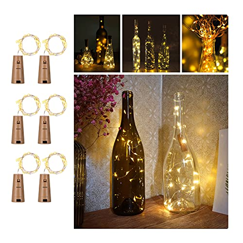 Wine Bottles String Lights, FairyDecor 6 Packs Micro Artificial Cork Copper Wire Starry Fairy Lights, Battery Operated Lights for Bedroom, Parties, Wedding, Decoration(6 Packs 2m/7.2ft Warm White) from FairyDecor