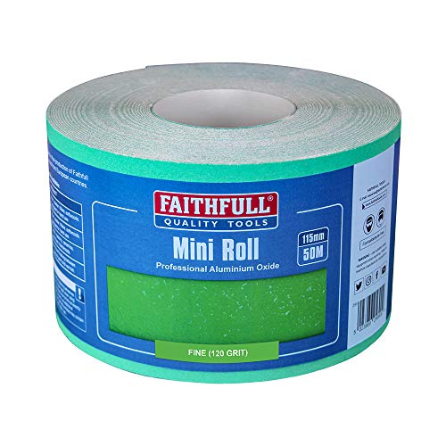Faithfull AR115120G Aluminium Oxide Paper Roll 115mm x 50m 120g - Green from Faithfull