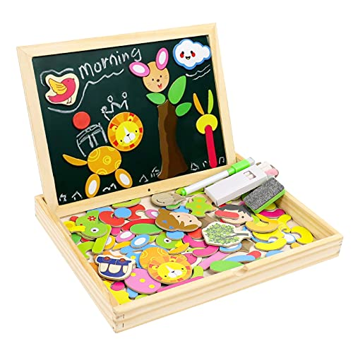 Wooden Jigsaw Puzzles Magnetic Jigsaw Puzzles|Double Sided Magnetic Drawing Writing Board for Children Boys Girls 3 4 5 Year olds|Wooden Educational Toys|Human&Animal Theme|71 Pieces from Fajiabao