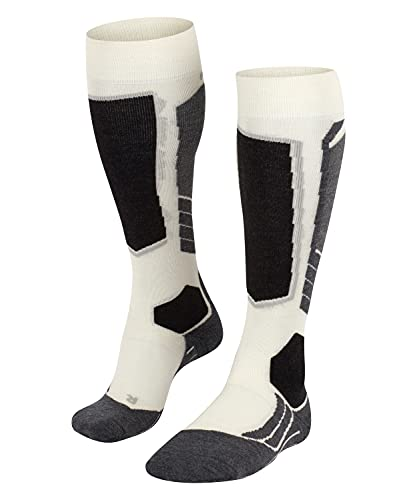 FALKE Women SK2 Wool Ski Socks - Merino Wool Blend, White (Off-White 2040), UK 5.5-6.5 (Manufacturer size: 39-40), 1 Pair from FALKE