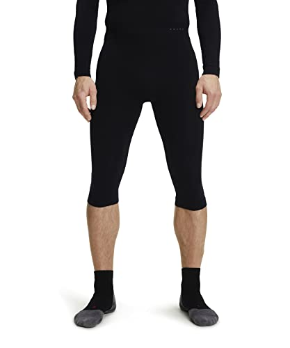 FALKE ESS Men Warm 3/4 tights,  Size XXL, Black, polyamide mix - Sweat wicking, fast drying, protection in mild to cold temperatures from Falke