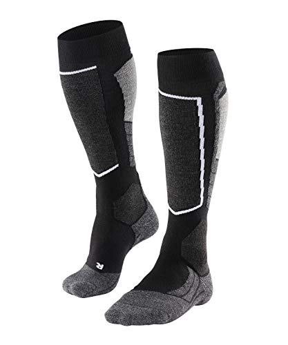 FALKE Women's SK2 Skiing Socks - Merino Wool Blend, Black (Black-Mix 3010), UK 7-8 (EU 41-42 Ι US 9.5-10.5), 1 Pair from FALKE