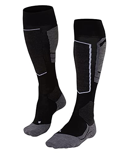 FALKE Women's SK4 Skiing Socks - Merino Wool Blend, Black (Black-Mix 3010), UK 7-8 (EU 41-42 Ι US 9.5-10.5), 1 Pair from FALKE