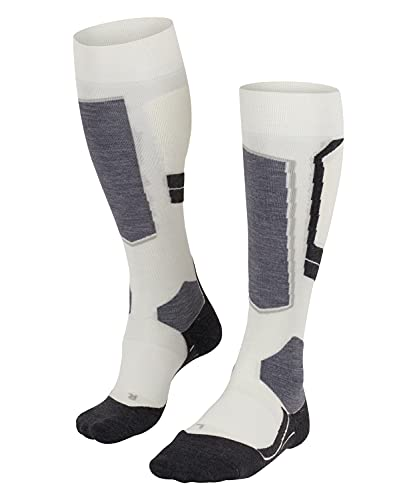 FALKE Women's SK4 Skiing Socks - Merino Wool Blend, White (Off-White 2040), UK 4-5 (EU 37-38 Ι US 6.5-7.5), 1 Pair from FALKE