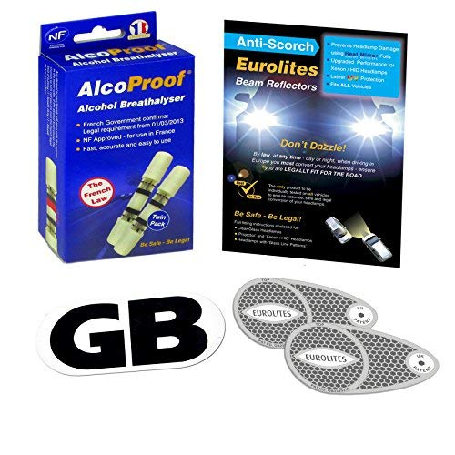 3 Piece Kit Headlamp Beam Deflectors Twin Pack French Breathalysers Long Expiry Date Magnetic GB Plate Eurolites Alcoproof Breathalyzer Good Quality NF approved Headlight Converters European Travel Kit Travel Abroad from Family Motoring & Leisure
