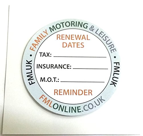 New Car Vehicle Windscreen Road TAX M.O.T Insurance Reminder Gadget Sticker X2 from Family Motoring & Leisure