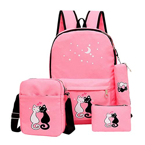 Fanci 4Pcs Teenager Girls Cute Cat Printing School Backpack Canvas Casual Daypack from Fanci