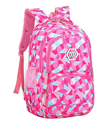 Fanci Geometric Prints Primary School Student Satchel Backpack for Girls Waterproof Preppy Schoolbag from Fanci
