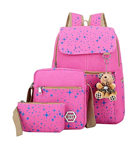 Fanci Teenager Girls Backpack Canvas Stars Rucksack School Student Travel Book Bag with Pencil Case from Fanci