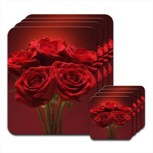 Fancy A Snuggle Bunch Of Deep Red Roses With Green Stems Set of 4 Placemat & Coasters from Fancy A Snuggle