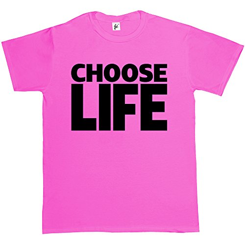 Choose Life Wham Retro 80s Fancy Dress Fuchsia Pink Mens Cotton Short Sleeve T-Shirt Size XXL 2XL from Fancy A Snuggle