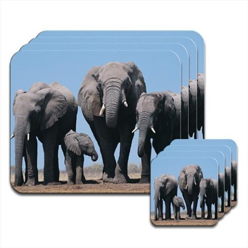 Fancy A Snuggle Elephant Set of 4 Placemat & Coasters from Fancy A Snuggle