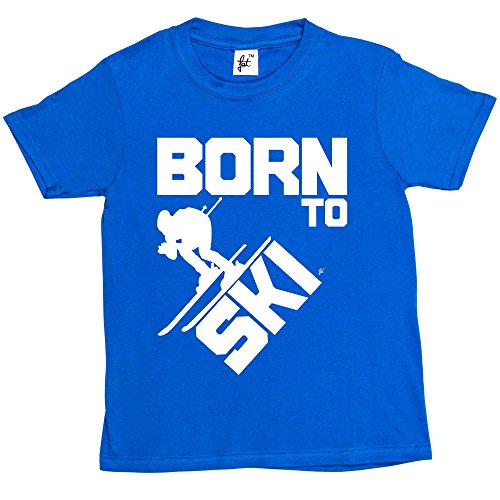 Fancy A Snuggle Born to Ski - Skier Skies Fast Kids Boys/Girls T-Shirt Royal Blue 9-11 Year Old from Fancy A Snuggle