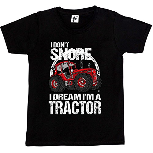 Fancy A Snuggle I Don't Snore I Dream I'm A Tractor Big Red Farm Kids Boys T-Shirt Black 9-11 Year Old from Fancy A Snuggle