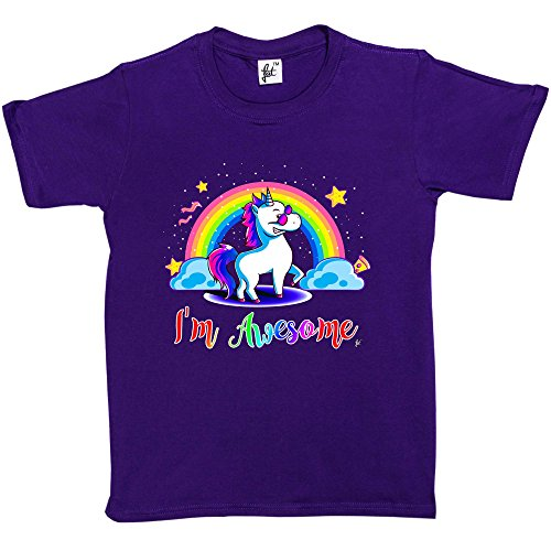 Fancy A Snuggle I'm Awesome Unicorn Shades Rainbows Kids Girls T-Shirt Purple 5-6 Year Old from Fancy A Snuggle