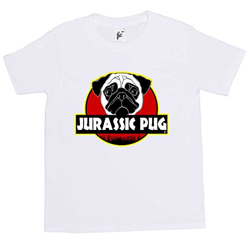 Fancy A Snuggle Jurassic Pug Dinosaur Cult Kids Boys/Girls T-Shirt White 7-8 Year Old from Fancy A Snuggle