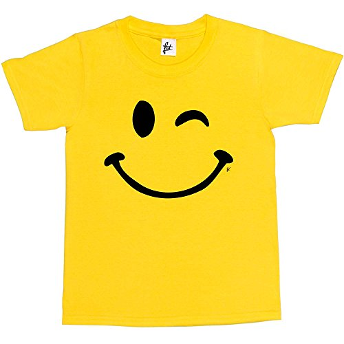 Fancy A Snuggle Retro Happy Funny Winking Emoticon Face Kids Boys/Girls T-Shirt Yellow 12-14 Year Old from Fancy A Snuggle