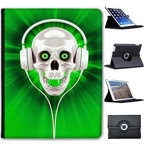 Fancy A Snuggle Green Skull With Headphones Faux Leather Case Cover/Folio for the Apple iPad 2, iPad 3 & iPad 4 (with Retina Display) from Fancy A Snuggle