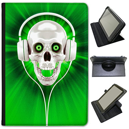 Fancy A Snuggle Green Skull With Headphones Universal Faux Leather Case Cover/Folio for most 10 Inch Tablets from Fancy A Snuggle