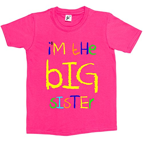 Fancy A Snuggle I'm The Big Sister Funny Kids Boy Girl Cotton Short Hot Pink Sleeve T-Shirt - Size 5-6 Years from Fancy A Snuggle