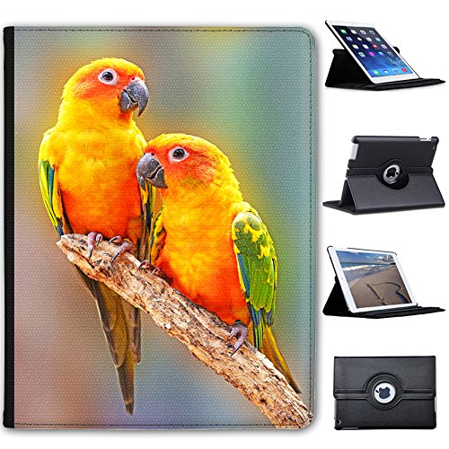 Fancy A Snuggle Pair of Sun Conure Parrot Sat On Branch Faux Leather Case Cover/Folio for the Apple iPad 2, iPad 3 & iPad 4 (with Retina Display) from Fancy A Snuggle