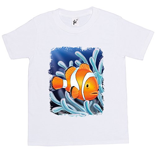Fancy A Snuggle Tropical Nemo Type Clown Fish Swimming Kids Boy Girl Cotton Short White Sleeve T-Shirt - Size 3-4 Years from Fancy A Snuggle