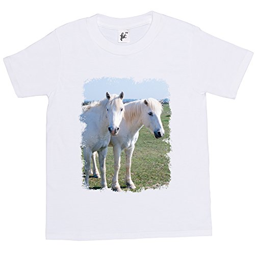 Fancy A Snuggle Two White Horses Kids Boy Girl Cotton Short White Sleeve T-Shirt - Size 9-11 Years from Fancy A Snuggle