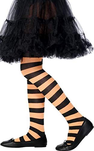 Child's Girls Red Orange Pink Purple Black & White Striped Fancy Dress Costume Tights (Black/Orange) from Fancy Me