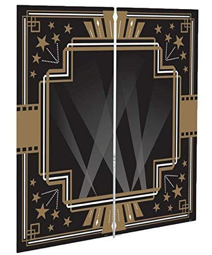 Fancy Me Black Gold Vintage Hollywood Theme 1920s Art Deco Adults Birthday New Years Eve Party Celebration Tableware Decorations (Scene Setter) from Fancy Me