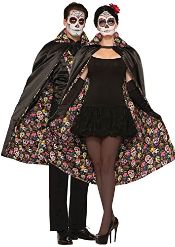 Mens Ladies Mexican Day of The Dead Halloween Fancy Dress Costume Cape Cloak (One Size) from Fancy Me