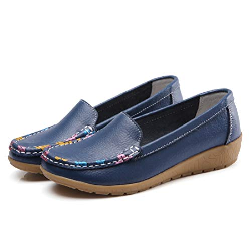 cde00f7915fa Fancybox Ladies Dark Blue Leather Loafers Flat Shoes Women s Boat Shoes  Comfy Work Shoes - 6. found at Amazon Marketplace