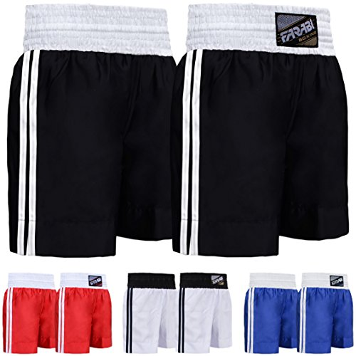 Farabi Pro Boxing Shorts for Boxing Training Punching, Sparring Fitness Gym Clothing Fairtex jiu jitsu MMA Muay Thai Kickboxing Equipment Trunks (Black, X-Small) from Farabi Sports