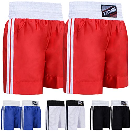 Farabi Pro Boxing Shorts for Boxing Training Punching, Sparring Fitness Gym Clothing Fairtex jiu jitsu MMA Muay Thai Kickboxing Equipment Trunks (Red, Small) from Farabi Sports