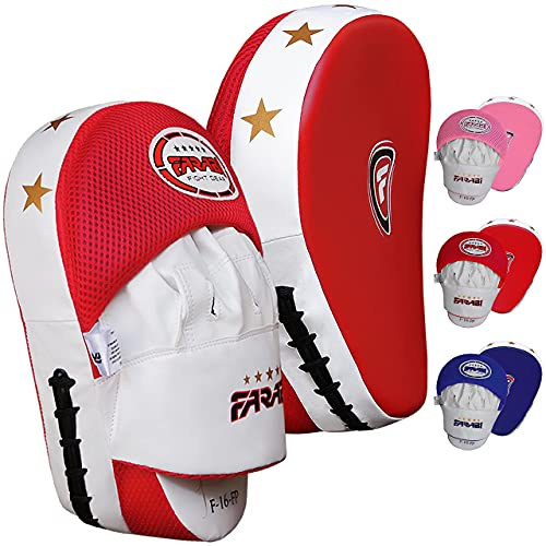Focus Pads, Hook & Jab Mitts, Boxing Training Pads, Tough synthetic leather curved by Farabi from Farabi Sports