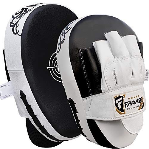 FARABI Genuine Leather Curved Focus Pads, Hook & Jab Mitts, Boxing Training Pads from FARABI