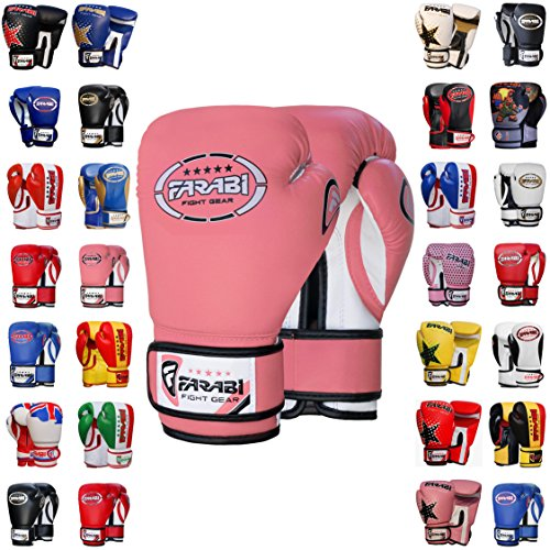Farabi Boxing Gloves Kids Junior Muay Thai Kick Boxing Training MMA Punching Bag (Pink, 8-oz) from Farabi Sports