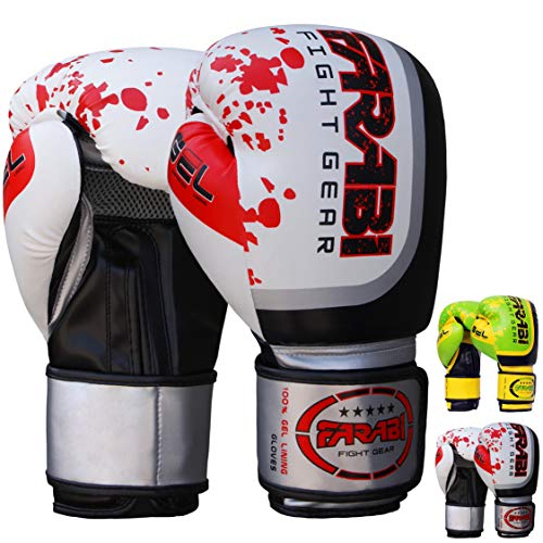Farabi Pro Fighter Boxing Gloves Sparring Gym Bag Punching Focus Pad Mitts (White, 12Oz) from Farabi Sports