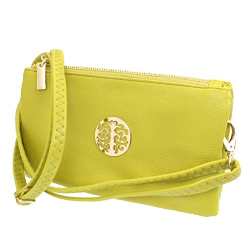 Yellow Clutch Bag with Wristlet and Long Adjustable Strap from Fashion Choice