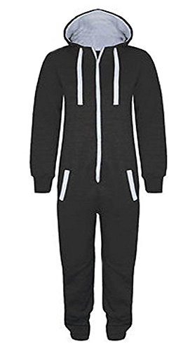 Childrens Unisex Boys Girls Kids Plain Onesie Hooded All In One Jumpsuit Sizes 7-14 Years Black & Grey (7-8, BLACK) from Fashion Oasis