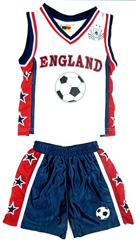 Kids Children's Basketball Sets Kits 2 Piece Set T Shirts/Vest Tops Shorts New York, Chicago, New Jersey, Boston, Hawaii, Texas, Olympia, Miami Ages 6 Months to 12 Years (Age 6, England KIT) from Fashion Oasis