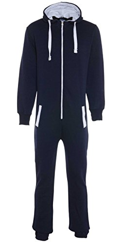 UNISEX MENS WOMENS AZTEC PRINT ONESIE ZIP UP ALL IN ONE HOODED JUMPSUIT S M L XL (MEDIUM, Navy Plain) from Fashion Oasis