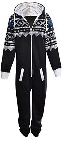 UNISEX MENS WOMENS AZTEC PRINT ONESIE ZIP UP ALL IN ONE HOODED JUMPSUIT S M L XL (SMALL, Black) from Fashion Oasis