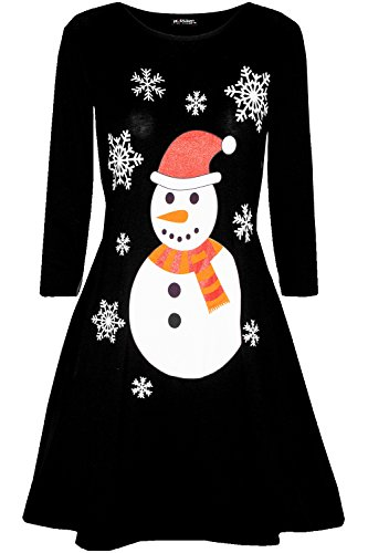 Fashion Star Womens Long Sleeve Snowman Reindeer Santa Face Christmas Swing Mini Dress from Fashion Star