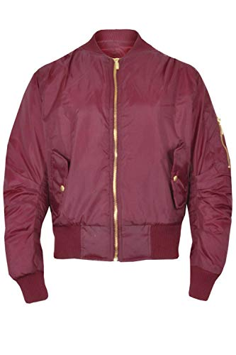 Kids Girls Boys MA1 Long Sleeves Two Front Button Pockets Padded Bomber Jacket, Wine, Age 7/8 years from Fashion Star