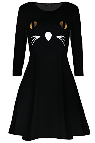 Women Scary Cat Face Fancy Costume Halloween Party Smock Swing Mini Dress Black from Fashion Star