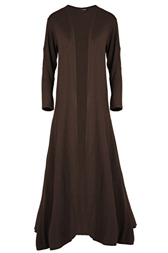Fashion Star Womens Waterfall Long Sleeves Plain Floaty Open Front Oversized Baggy Draped Jacket Long Flared Maxi Cardigan Brown from Fashion Star