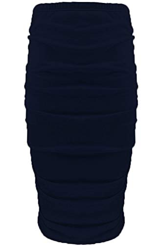 Fashion Star Womens Ladies Plain Stretchy Side Ruched Pencil Tube Bodycon Midi Length Skirt Navy from Fashion Star