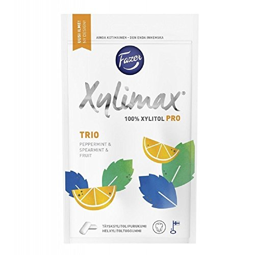 Fazer Xylimax Trio Pro - Peppermint - Spearmint - Fruit - 100% Xylitol - Chewing Gum - Bubble Gum - Bag 130g from Fazer Xylimax Chewing Gum
