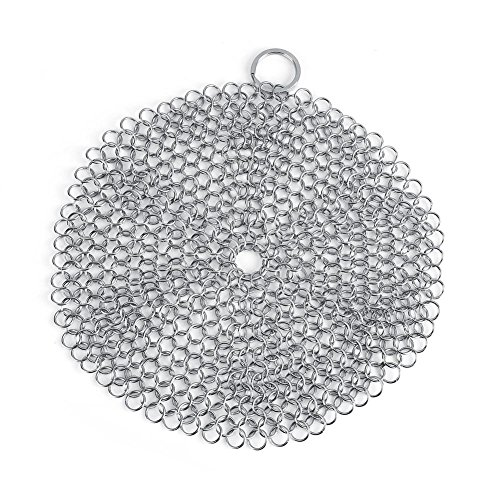 "Cast Iron Cleaner Set 7""x 7"" Stainless Steel Chainmail Scrubber for Cast-iron Cleaner Skillet Pan Griddle from Fdit"