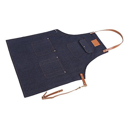 Denim Bib Apron Adjustable Chef Apron with Leather Strap Pockets for Men Women Working Cooking Gardening Crafting from Fdit